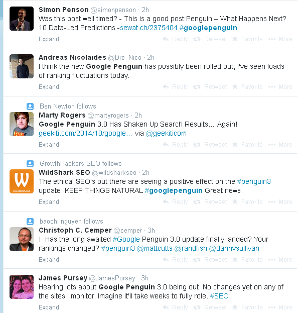Google Penguin Twitter Feed