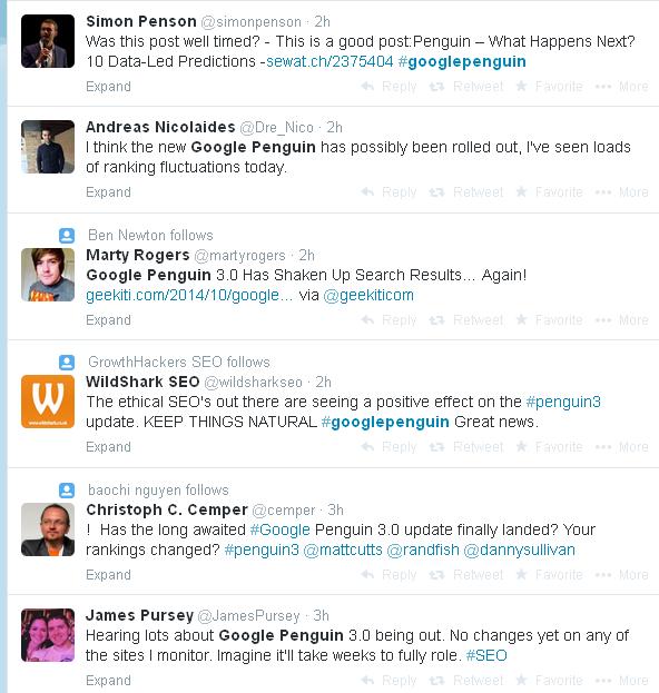 Google Penguin Twitter Feed