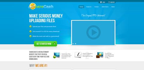 ShareCash Homepage Screenshot