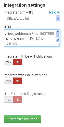 LeadPages Integration Settings