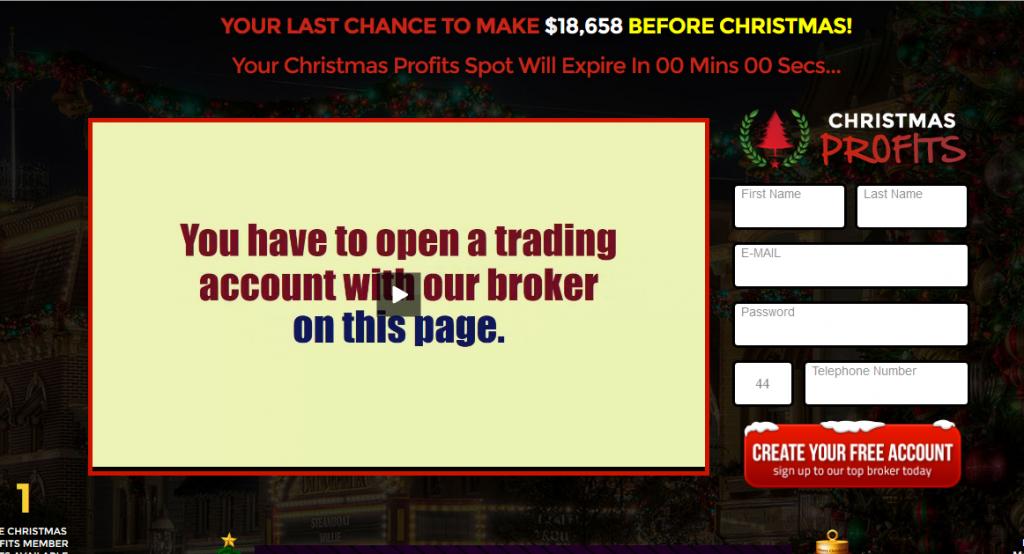 Christmas Profits Deposit Screen