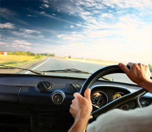 Holding Steering Wheel Driving