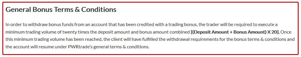 PWRTrade Bonus Conditions
