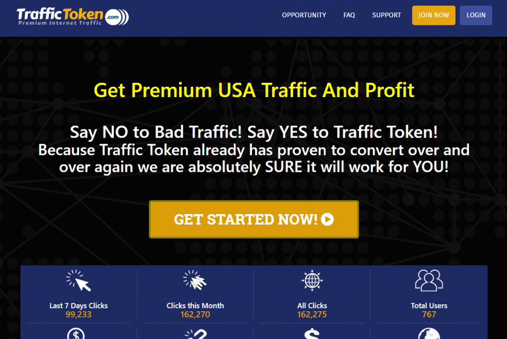 Traffic Token Homepage
