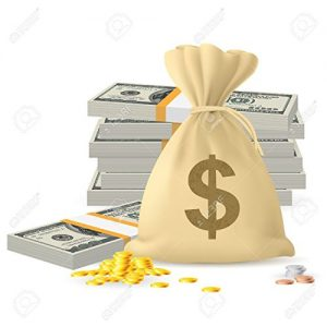 Money Bag & Cash Representing Extra Income