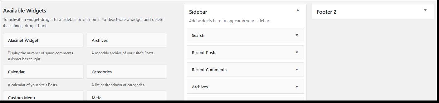 Wordpress Widgets Page