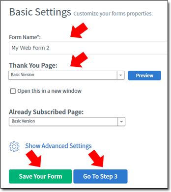 AWeber Form Basic Settings