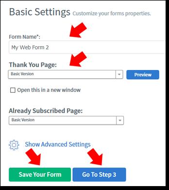 AWeber Form Basic Settings