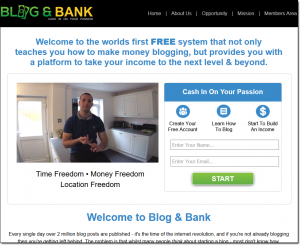 Blog & Bank Homepage Screenshot