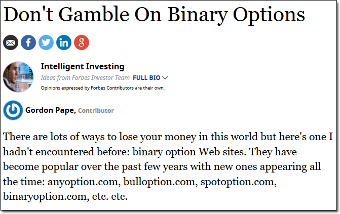 Binary Options Forbes Article
