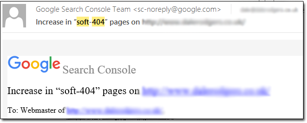 Soft 404 Google Email