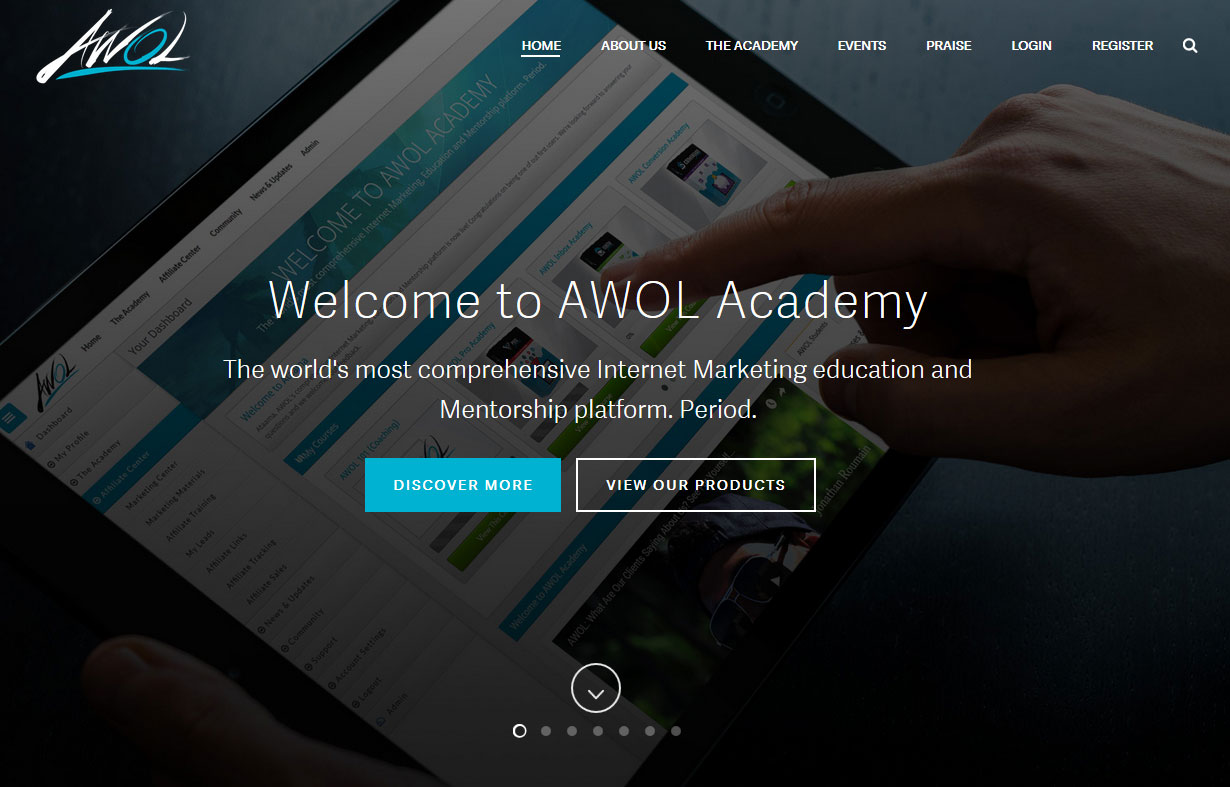 Screenshot of the AWOL Academy homepage