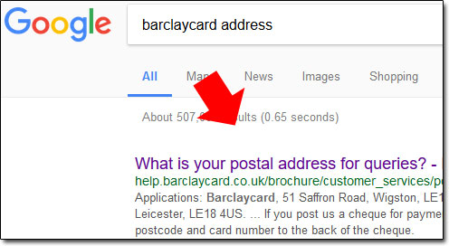 Barclaycard Address