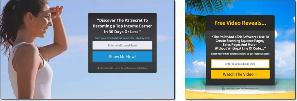 Examples of Email Landing Pages