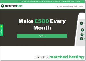 MatchedBets.com Homepage Screenshot