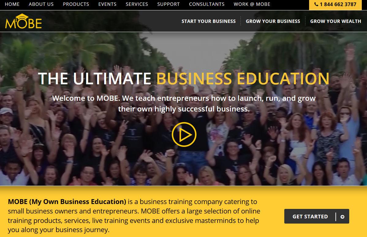 MOBE Homepage Screenshot
