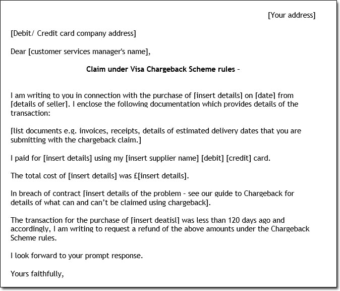 Sample Chargeback Letter