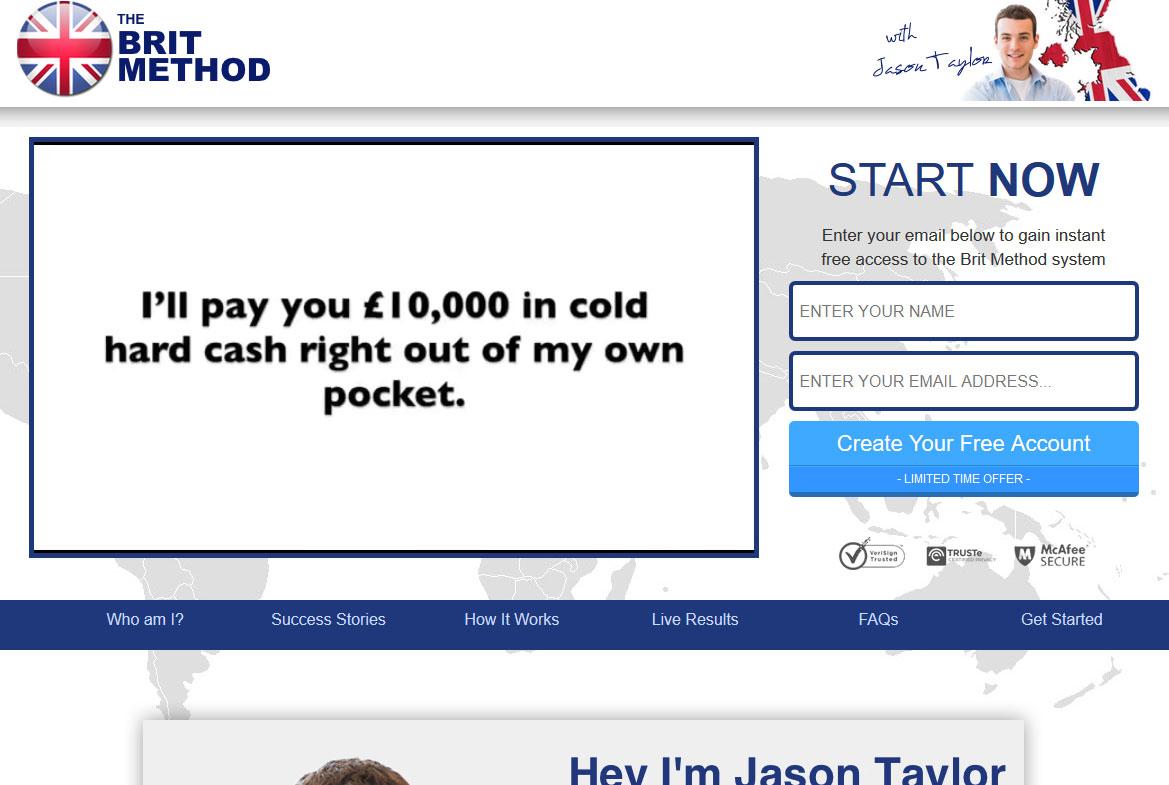 Screenshot of The Brit Method homepage