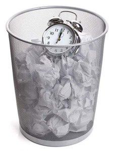 Clock in Bin Wasting Time