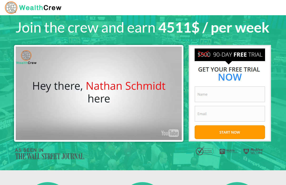 Screenshot of the Wealth Crew homepage