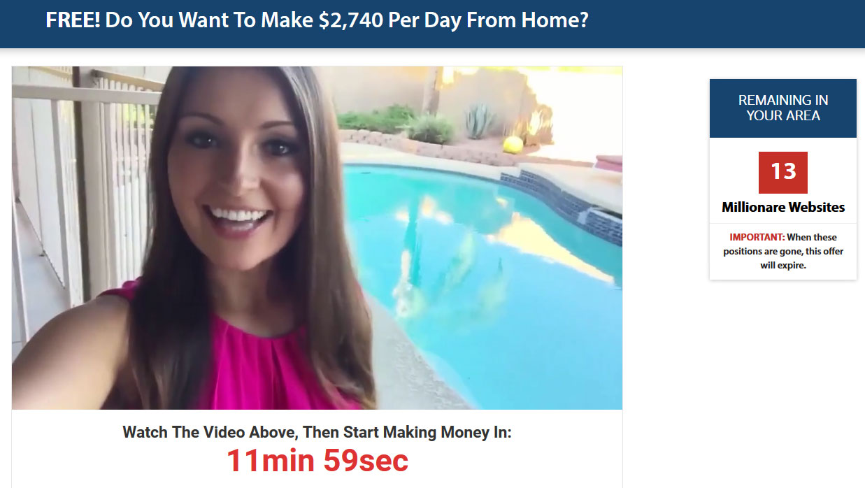 Screenshot of the Digital Millionaire Secret Homepage