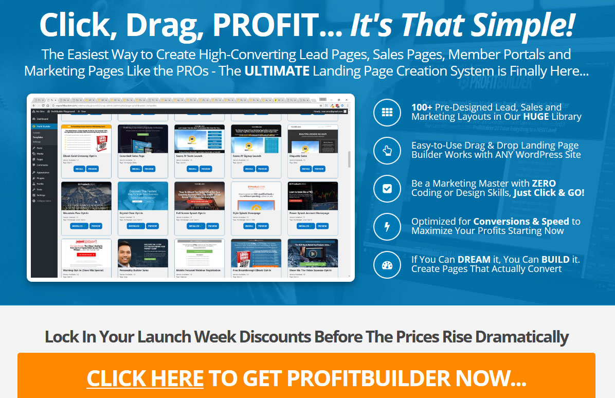 Profit Builder 2.0 Homepage Screenshot