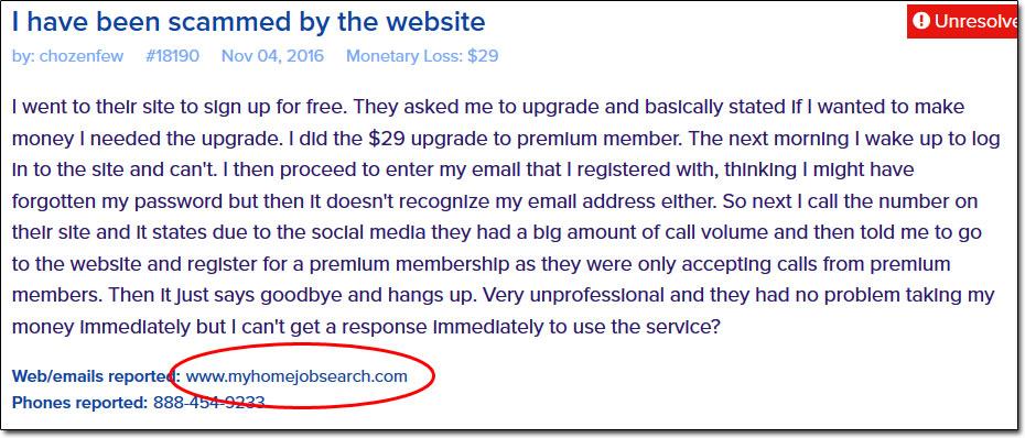 Screenshot of Complaint
