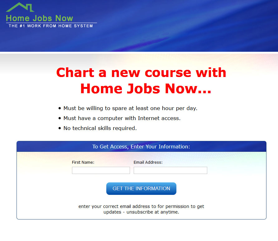 Home Jobs Now Homepage Screenshot
