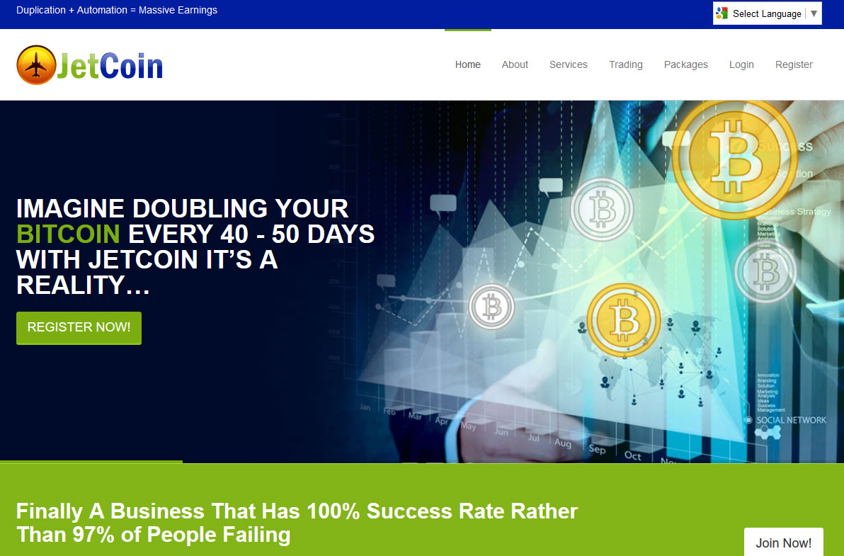 Screenshot of the JetCoin homepage