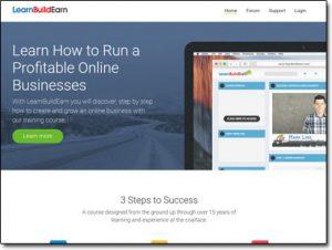 Learn Build Earn Homepage Screenshot