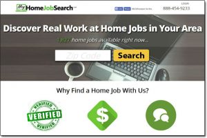 Screenshot of My Home Jobs Search Website