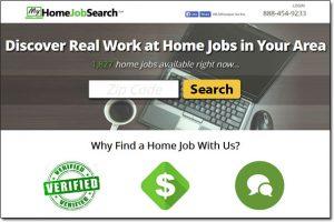 Screenshot of My Home Jobs Search Website