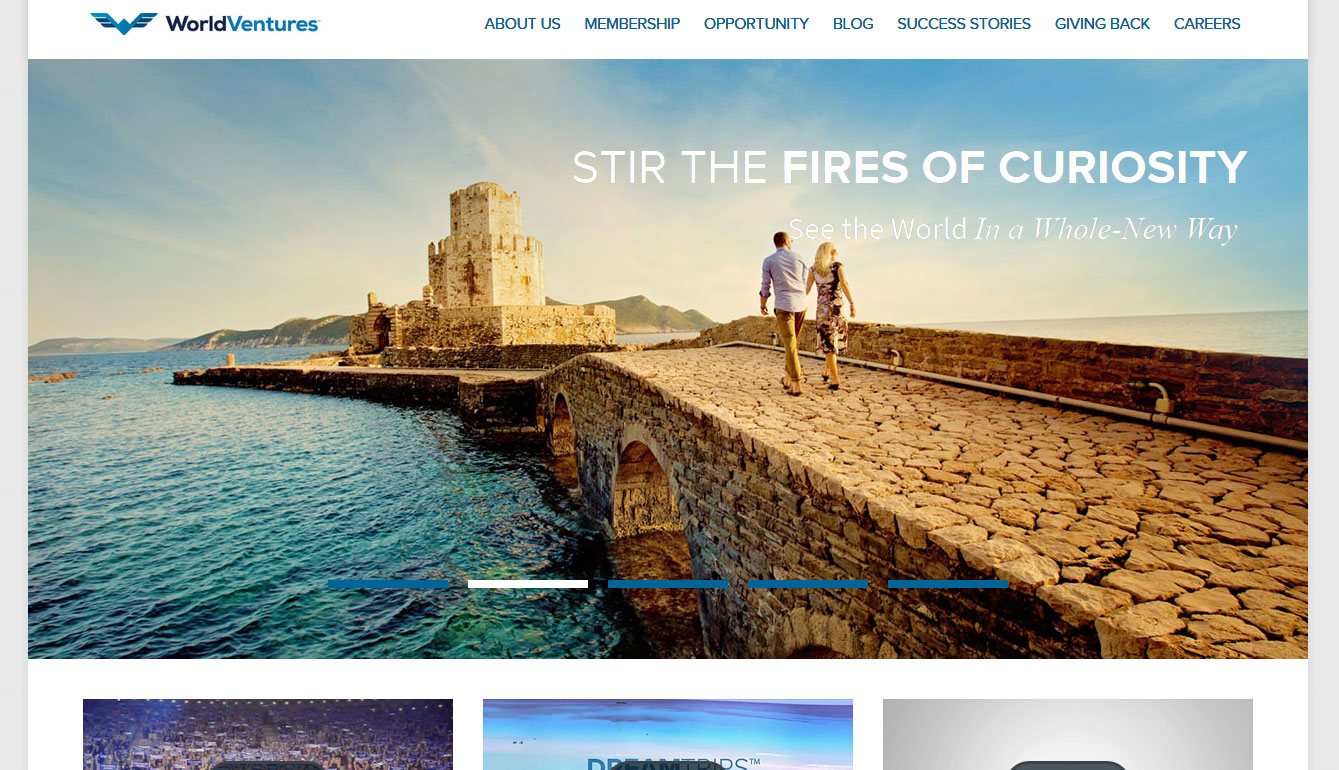 Screenshot of the World Ventures Homepage