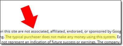 Screenshot of the EZ Money Team Disclaimer