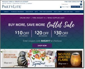 PartyLite Homepage Thumbnail