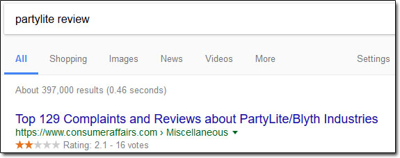 PartyLite Review Google Search Screenshot