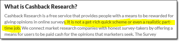 Cashback Research Disclaimer