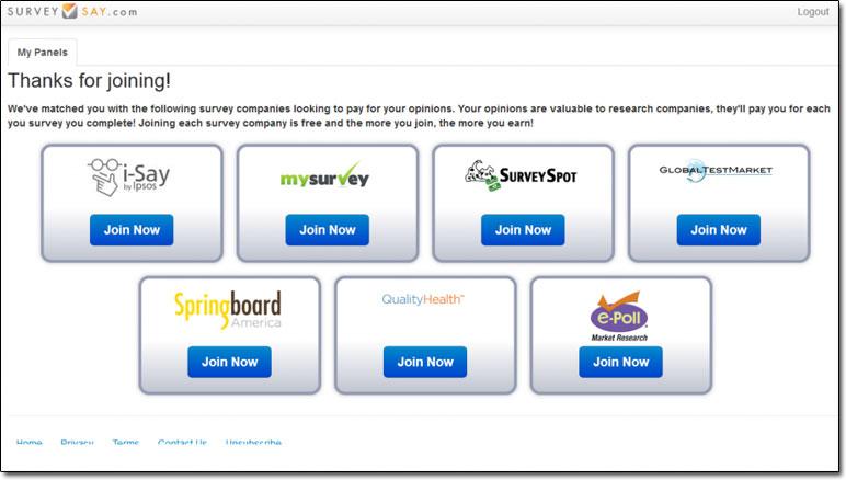 Surevy Say Members Dashboard Screenshot