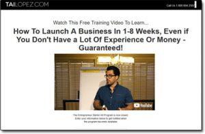 Tai Lopez Entrepreneur Starter Kit Homepage