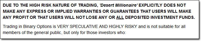 Desert Millionaire Earnings Disclaimer