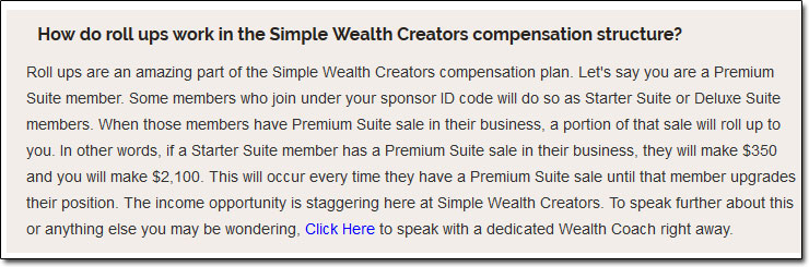 Simple Wealth Creators Compensation Plan