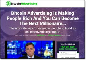 The Bitcoin Advertising System Website Screenshot