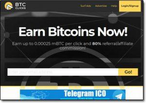 BTC Clicks Website Screenshot