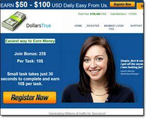 Dollars True Website Screenshot