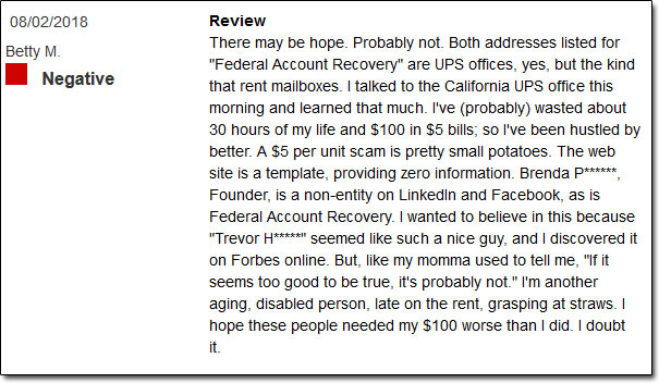 Federal Account Recovery Reviews