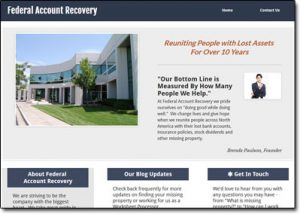 Federal Account Recovery Website Screenshot
