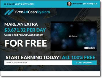 Free Ad Cash System Website Screenshot