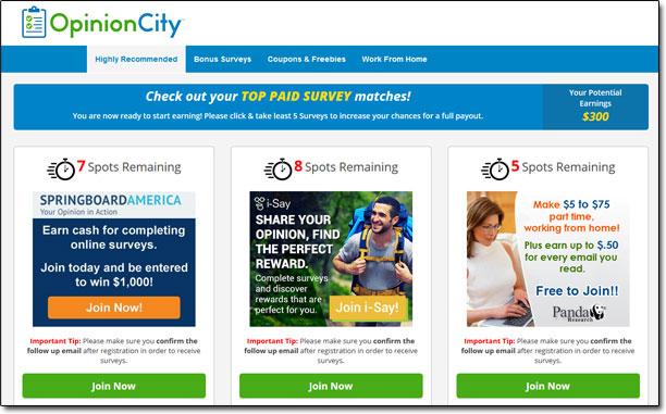 Opinion City Member Dashboard Screenshot