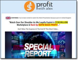 Profit With Alex Website Screenshot