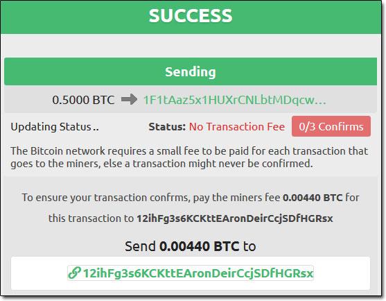 Bitcoin Exploit Success Message
